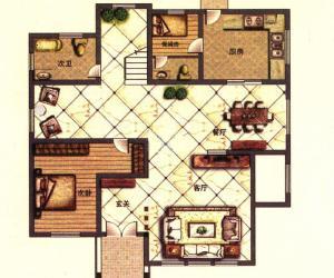 翠湖山庄 二期云顶E1户型一层 6室2厅6卫1厨301㎡