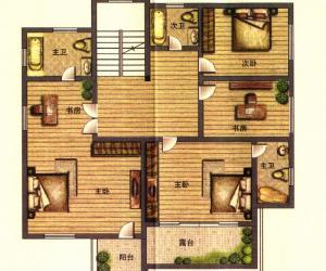 二期云顶E1户型二层 6室2厅6卫1厨301㎡
